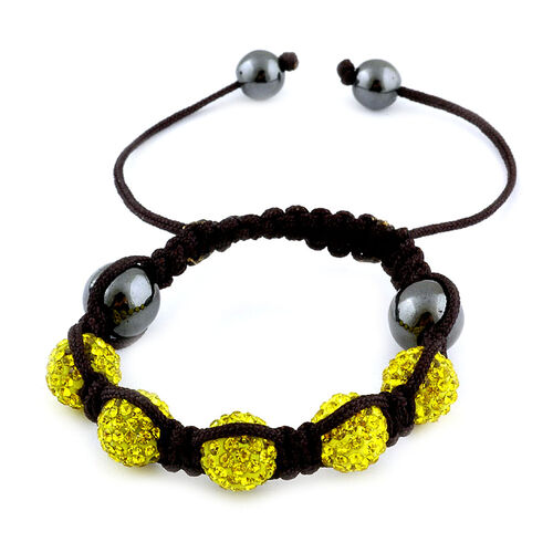 Hematite and Yellow Austrian Crystal Friendship Bracelet (Adjustable)