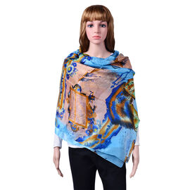 100% Mulberry Silk Map and Nautical Pattern Light Blue, Peach and Multi Colour Scarf (Size 180x110 Cm)