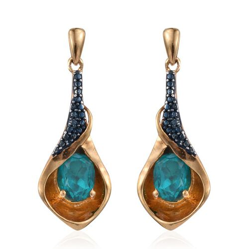 Capri Blue Quartz (Ovl), Blue Diamond Earrings in 14K Gold Overlay Sterling Silver 2.760 Ct.