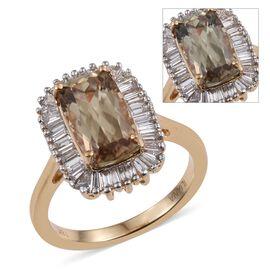 ILIANA 18K Y Gold Natural Turkizite (Cush 3.50 Ct), Diamond Ring 4.000 Ct.