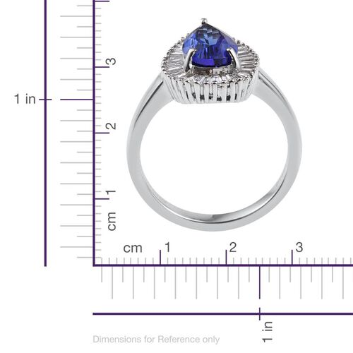 RHAPSODY 950 Platinum AAAA Tanzanite Pear 2 Carat, Diamond Engagement Ring 2.900 Ct. with VS E-F Diamonds.