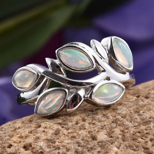 AA Ethiopian Welo Opal (Mrq) 5 Stone Ring in Platinum Overlay Sterling Silver 0.750 Ct.