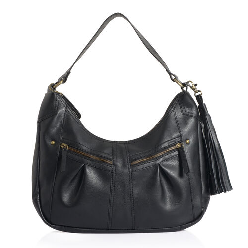 Genuine Leather Charcoal Black Colour Handbag with External Zipper Pocket and Removable Shoulder Strap (Size 27 X 30)