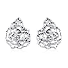 Kimberley Bloom Collection Platinum Overlay Sterling Silver Floral Stud Earrings (with Push Back)