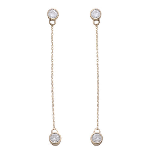 Constellation 9K Y Gold SGL Certified Diamond (Rnd) (I3/ G-H) Drop Earrings (with Push Back) 0.500 Ct.