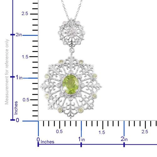 Hebei Peridot (Ovl 3.50 Ct), White Topaz Pendant With Chain in Platinum and Rhodium Overlay Sterling Silver 4.500 Ct.