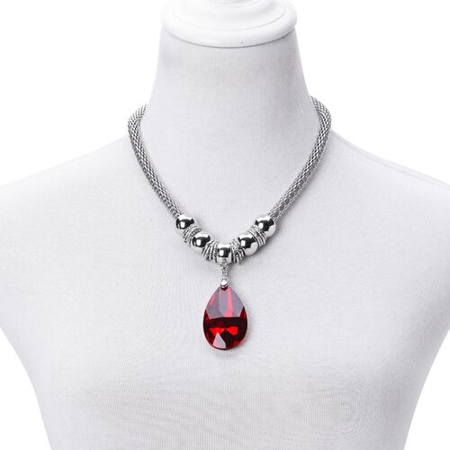 Simulated Ruby Necklace (Size 20 with 2 inch Extender) and Hook Earrings in Silver Tone with Stainless Steel