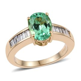 ILIANA 18K Y Gold Boyaca Colombian Emerald (Ovl 2.70 Ct), Diamond (SI/G-H) Ring 3.250 Ct.