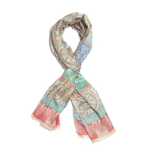 100% Modal Blue, Orange and Multi Colour Floral and Paisley Pattern Jacquard Scarf (Size 190x70 Cm)