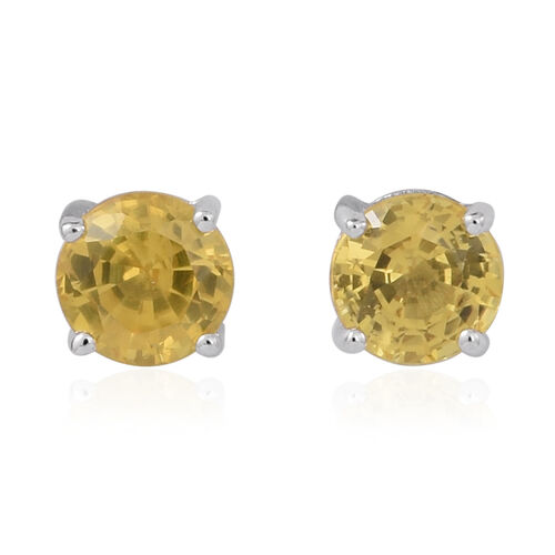 9K White Gold 1 Carat AA Yellow Sapphire Stud Earrings (with Push Back)