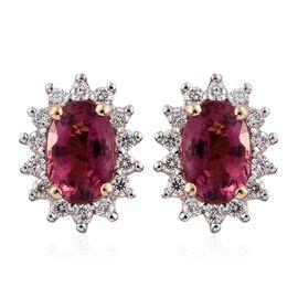 ILIANA 18K Y Gold Pink Tourmaline (Ovl), Diamond Earrings (with Screw Back) 1.000 Ct.