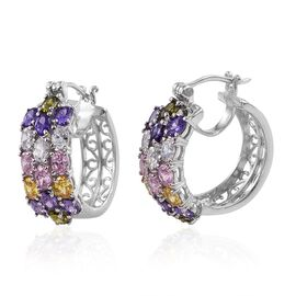 AAA Simulated Pink Sapphire (Ovl), Simulated Amethyst, Simulated Citrine, Simulated Peridot, Simulated Diamond and Simulated Tanzanite Hoop Earrings (with Clasp) in Platinum Bond