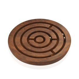 (Option 1) Hand Made - Indian Rosewood Goli Game Plate (Size 12x12 Cm)