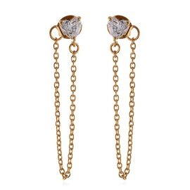 J Francis - 14 KGold Overlay Sterling Silver (Hrt) Chain Earrings (with Push Back) Made with SWAROVSKI ZIRCONIA