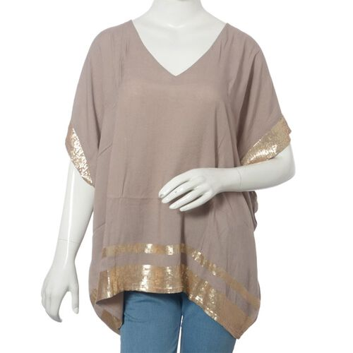 Khaki Colour loose fit top with Golden Sequins at the Border (Free Size)