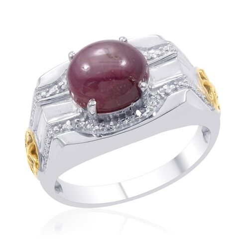 Designer Collection Star Ruby (Ovl 7.75 Ct), Diamond Ring in 14K YG and Platinum Overlay Sterling Silver 7.790 Ct.