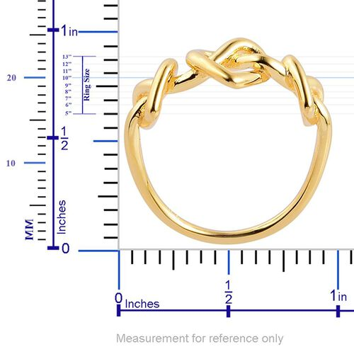 LucyQ Triple Heart Entwine Ring in Yellow Gold Overlay Sterling Silver 3.70 Gms.