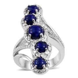 Lapis Lazuli (Rnd 1.50 Ct) 5 Stone Ring in ION Plated Platinum Bond 4.250 Ct.