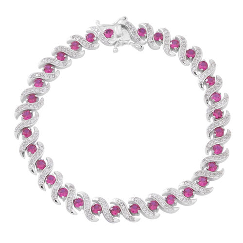ELANZA AAA Simulated Pink Tourmaline (Rnd), Simulated White Diamond Bracelet (Size 7.5) in Rhodium Plated Sterling Silver