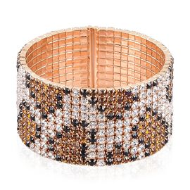 AAA Champagne, White and Black Austrian Crystal Python Snake Skin Cuff Bangle (Size 6.5) in Yellow Gold Tone