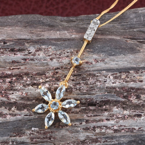 Espirito Santo Aquamarine (Rnd), Diamond Floral Pendant with Chain in 14K Gold Overlay Sterling Silver 1.000 Ct.