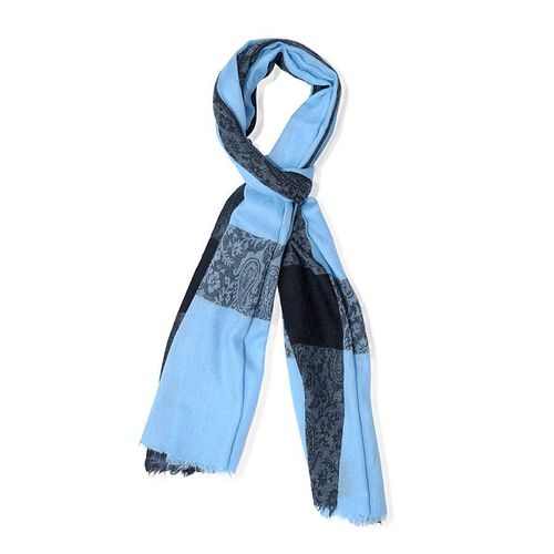 Fine Wool Self Border Blue Scarf (Size 70x200 Cm)