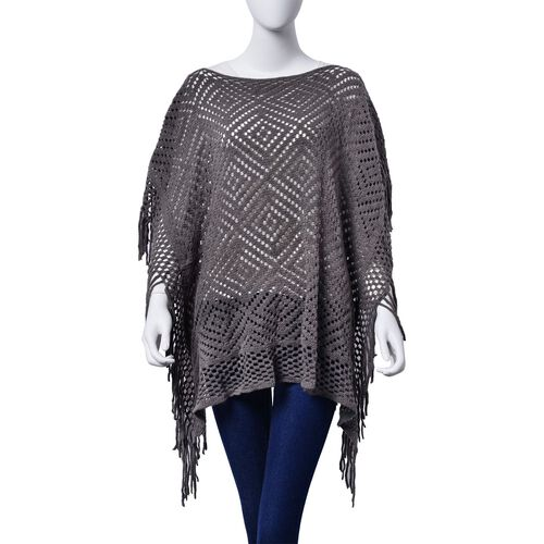 Diamond Pattern Grey Colour Poncho with Tassels (Size 80x70 Cm)