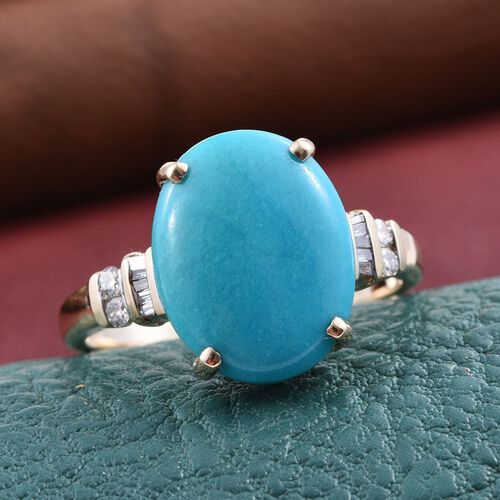 9K Y Gold Arizona Sleeping Beauty Turquoise (Ovl), Diamond Ring 7.250 Ct.