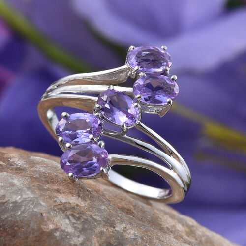 Lavender Alexite (Ovl) 5 Stone Crossover Ring in Platinum Overlay Sterling Silver 2.000 Ct.