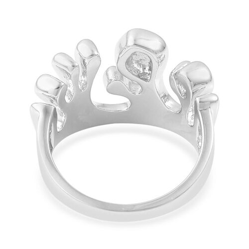 LucyQ Half Wave Ring in Rhodium Plated Sterling Silver 5.68 Gms.