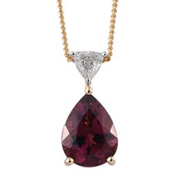 ILIANA 18K Y Gold Rare Pink Tourmaline (Pear 1.70 Ct), Diamond Pendant With Chain 1.850 Ct.
