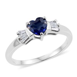 ILIANA 18K White Gold 1 Carat AAA Ceylon Blue Sapphire And Diamond (SI/G-H) Heart Ring