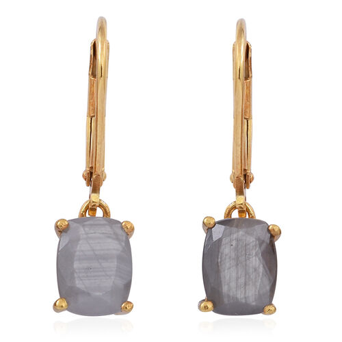 Natural Silver Sapphire (Cush) Lever Back Earrings in 14K Gold Overlay Sterling Silver 4.500 Ct.
