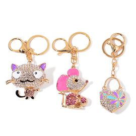 Set of 3 - AAA White, Purple and Multi Colour Austrian Cat, Mouse and Heart Lock Design Key Chains in Yellow Gold Tone
