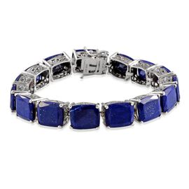 Lapis Lazuli (Cush) Bracelet in Platinum Overlay Sterling Silver (Size 7.5) 63.250 Ct.