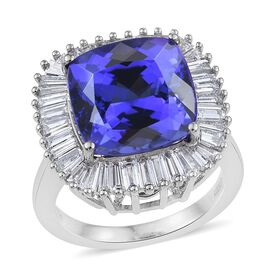 RHAPSODY 950 Platinum AAAA Tanzanite (Cush 11.45 Ct), Diamond Ring 13.750 Ct.