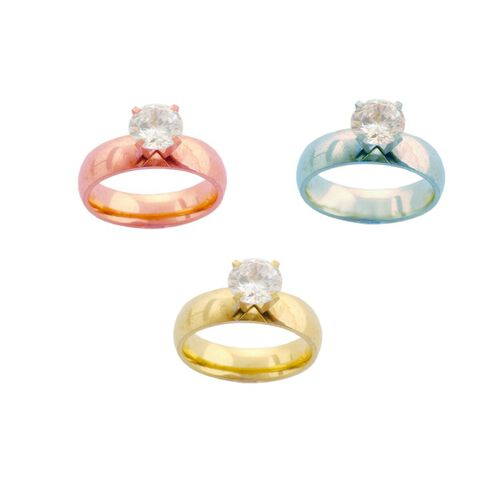 Essential Collection Simulated Diamond Ring  (Set of 3) in ION Plated RG YG and Stainless Steel 6.000 Ct.