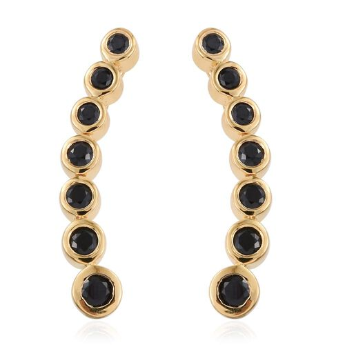 Black Spinel 1.25 Ct Silver Ear Climber Earrings in Gold Overlay