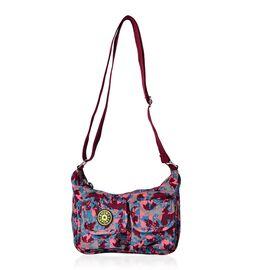 Designer Inspired Burgundy, Pink and Multi Colour Printed Handbag with External Zipper Pocket and Adjustable Shoulder Strap (Size 25x18x8 Cm)