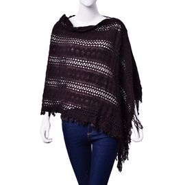 Designer Inspired Chocolate Colour Poncho with Tassel (Free Size)
