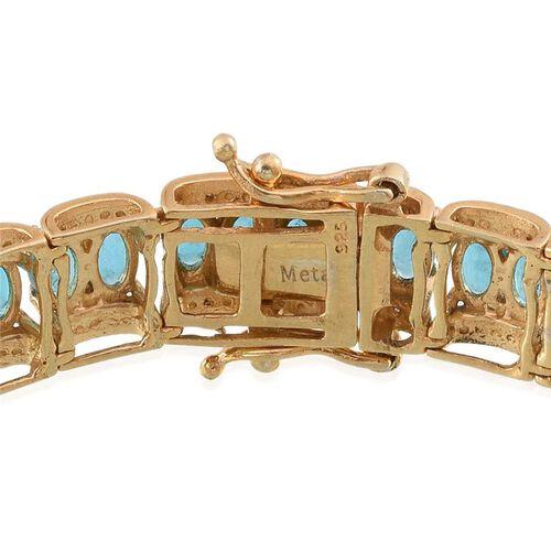Malgache Neon Apatite (Ovl), Diamond Bracelet (Size 7.5) in 14K Gold Overlay Sterling Silver 12.020 Ct.