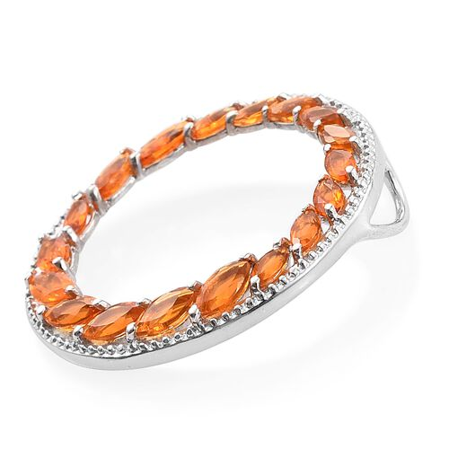 Jalisco Fire Opal (Mrq) Circle of Life Pendant in Platinum Overlay Sterling Silver 1.250 Ct.
