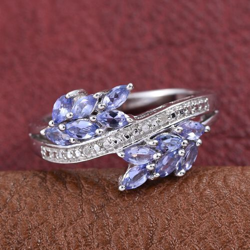 Tanzanite (Mrq), Diamond Ring in Platinum Overlay Sterling Silver 1.010 Ct.