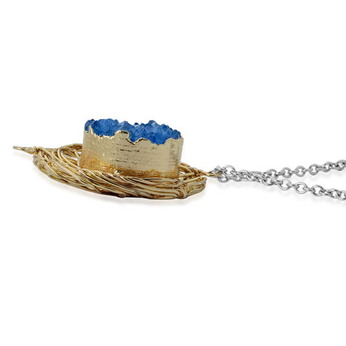 Blue Drusy Quartz Pendant in Gold Tone with Stainless Steel Chain 20.000 Ct.