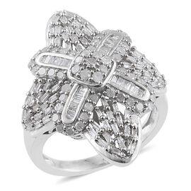 Diamond (Rnd) Ring in Platinum Overlay Sterling Silver 1.000 Ct.