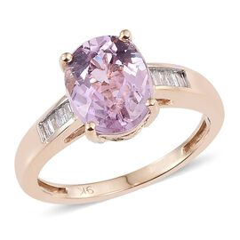 9K Y Gold Urucum Kunzite (Ovl 3.35 Ct), Diamond Ring 3.500 Ct.