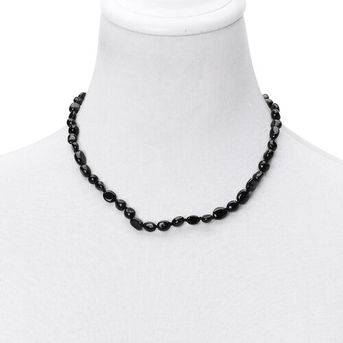 Hand Knotted Black Tourmaline Necklace (Size 18 with 2 inch Extender) in Rhodium Plated Sterling Silver 120.000 Ct.