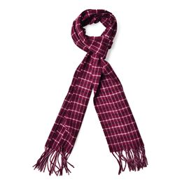 Made with  Very Rare 80% Natural Baby Alpaca Wool - Burgundy Colour Check Pattern Scarf (Size 180x30 Cm)