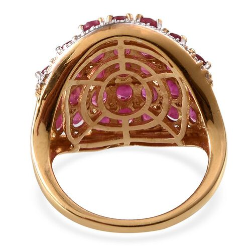 African Ruby (Ovl), White Topaz Cluster Ring in 14K Gold Overlay Sterling Silver 7.850 Ct.