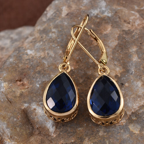 Ceylon Colour Quartz (Pear) Lever Back Earrings in 14K Gold Overlay Sterling Silver 7.000 Ct.